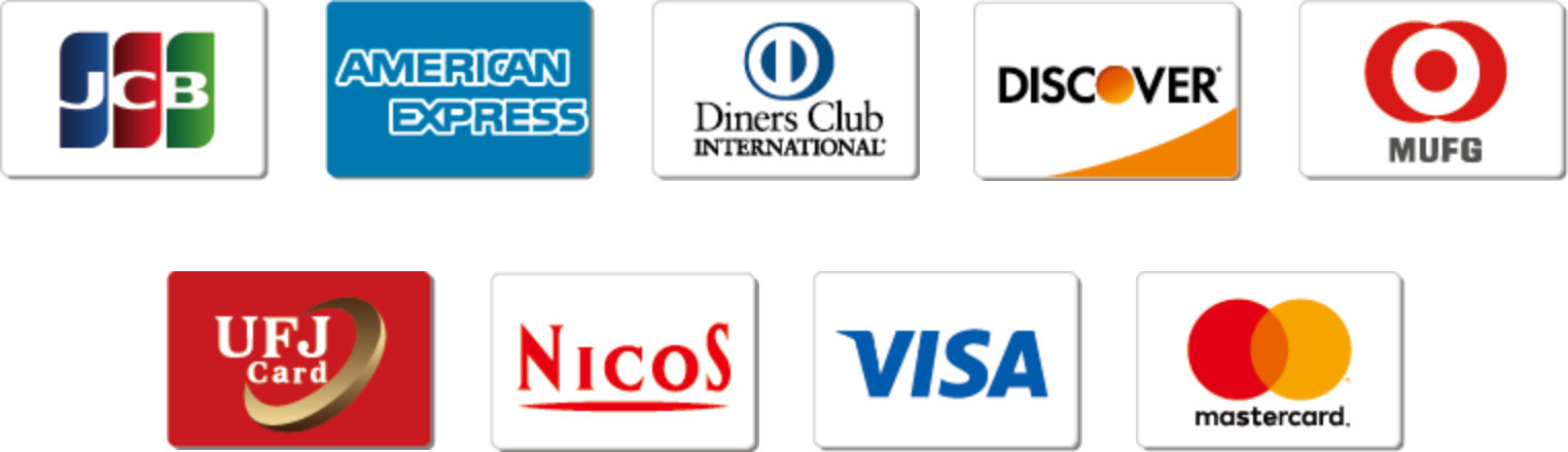 JCB AMERICAN-EXPRESS Diners-Club DISCOVER MUFG UFJcard NICOS VISA mastercard